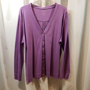 LL Bean plus 1x lavender button knit cardigan top